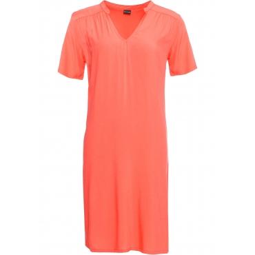 Kleid mit V-Ausschnitt kurzer Arm  in orange für Damen von bonprix