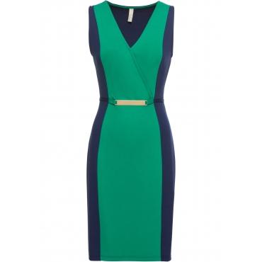 Kleid mit V-Ausschnitt und Gürtel ohne Ärmel  in blau  von bonprix