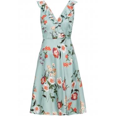 Kleid mit Volant ohne Ärmel  in blau für Damen von bonprix