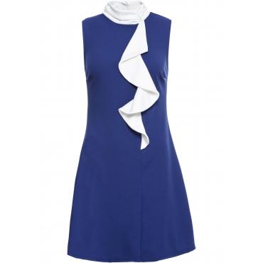 Kleid mit Volant ohne Ärmel  in blau von bonprix