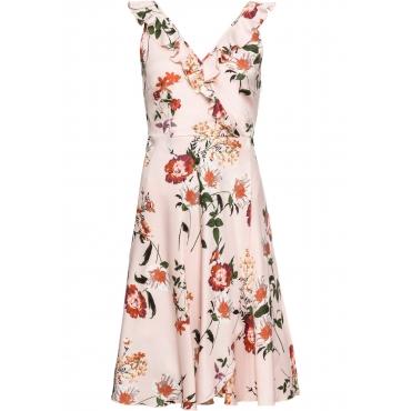 Kleid mit Volant ohne Ärmel  in rosa für Damen von bonprix