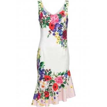 Kleid mit Volant ohne Ärmel  in weiß für Damen von bonprix