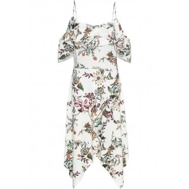 Kleid mit Volant ohne Ärmel  in weiß von bonprix