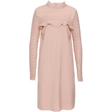 Kleid mit Volant und Spitze langarm  in rosa von bonprix