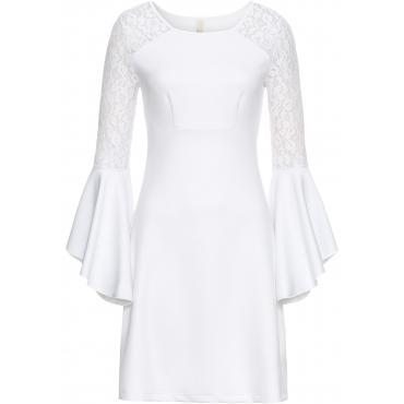 Kleid mit Volant und Spitze langarm  in weiß  von bonprix