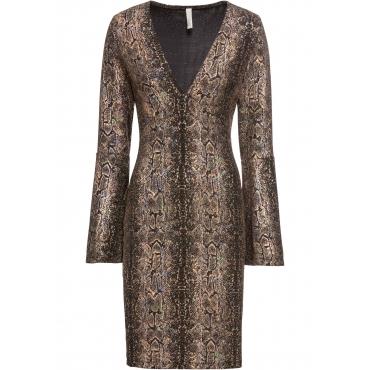 Kleid mit Volantärmeln 3/4 Arm  in schwarz für Damen von bonprix
