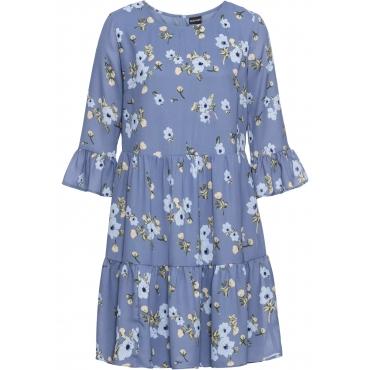 Kleid mit Volants 7/8 Arm  in blau für Damen von bonprix