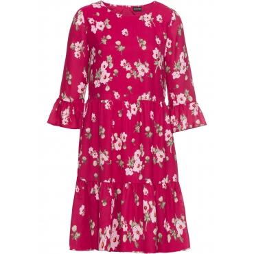 Kleid mit Volants 7/8 Arm  in pink für Damen von bonprix