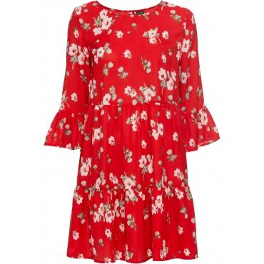 Kleid mit Volants 7/8 Arm  in rot für Damen von bonprix