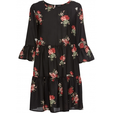 Kleid mit Volants 7/8 Arm  in schwarz für Damen von bonprix