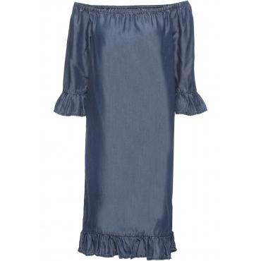 Kleid mit Volants aus TENCEL® halber Arm  in blau von bonprix