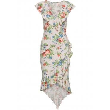 Kleid mit Volants kurzer Arm  in beige von bonprix
