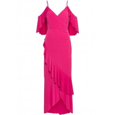 Kleid mit Volants kurzer Arm  in pink für Damen von bonprix