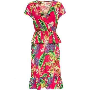 Kleid mit Volants kurzer Arm  in pink  von bonprix