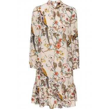 Kleid mit Volants langarm  in beige für Damen von bonprix