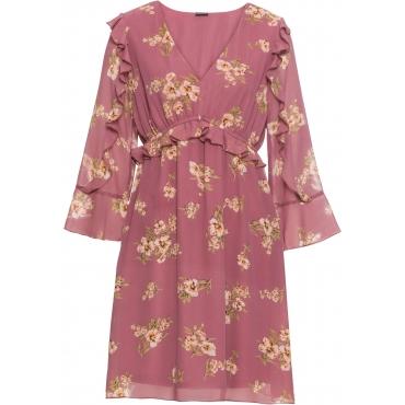 Kleid mit Volants langarm  in lila für Damen von bonprix