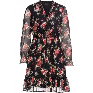 Kleid mit Volants langarm  in schwarz für Damen von bonprix