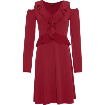 Kleid mit Volants: MUST HAVE langarm  in rot von bonprix