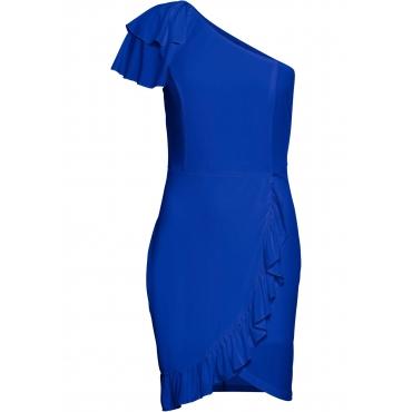 Kleid mit Volants ohne Ärmel  in blau von bonprix