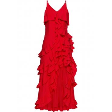 Vokuhila-Kleid mit Volants ohne Ärmel  in rot für Damen von bonprix