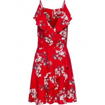 Kleid mit Volants ohne Ärmel  in rot von bonprix