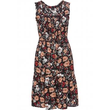 Kleid mit Volants ohne Ärmel  in schwarz für Damen von bonprix