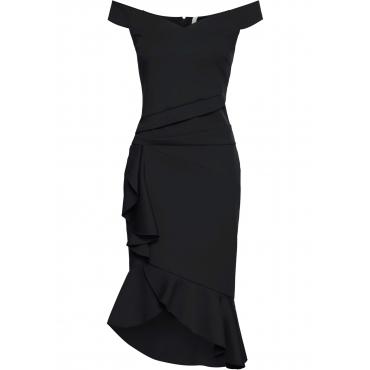 Off-Shoulder-Kleid mit Volants ohne Ärmel  in schwarz für Damen von bonprix