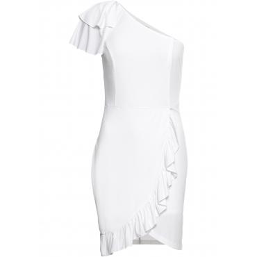 da69e76c355f9d Kleid mit Volants ohne Ärmel in weiß von bonprix