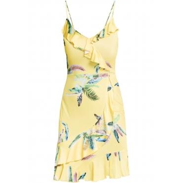 Kleid mit Volants und floralem Print ohne Ärmel  in gelb für Damen von bonprix