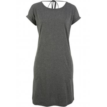 Kleid mit weitem Rückenausschnitt, halbarm in grau von bonprix