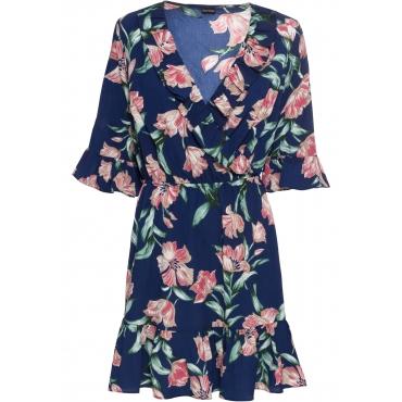 Kleid mit Wickeloptik halber Arm  in blau von bonprix