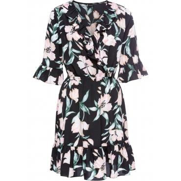 Kleid mit Wickeloptik halber Arm  in schwarz von bonprix