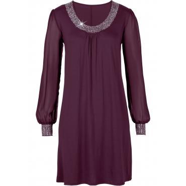 Kleid mit Zierstein-Applikation langarm  in lila für Damen von bonprix