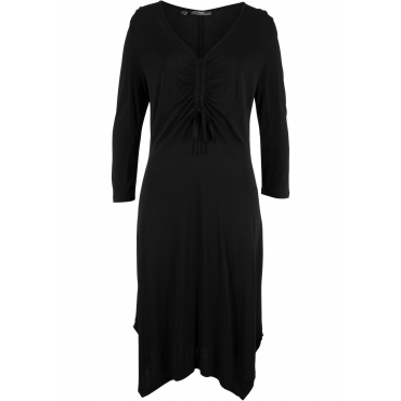 Kleid mit Zipfelsaum 3/4 Arm  in schwarz von bonprix