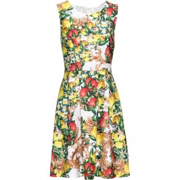Kleid mit Zitronen Print ohne Ärmel  in weiß für Damen von bonprix
