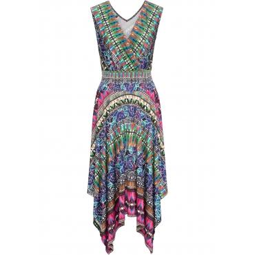 Kleid ohne Ärmel  in grün (V-Ausschnitt) von bonprix