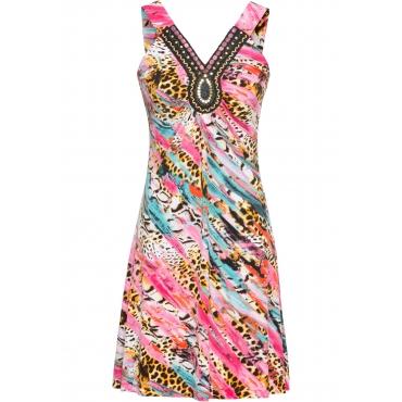 Kleid ohne Ärmel  in pink (V-Ausschnitt) für Damen von bonprix