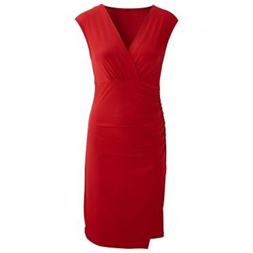 Kleid kurzer Arm  in rot (V-Ausschnitt) von bonprix
