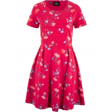 Kurzarm-Shirtkleid mit Blumendruck in rot von bonprix
