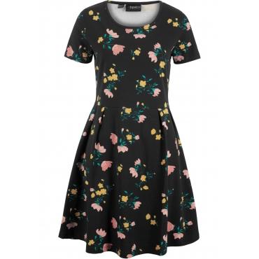 Kurzarm-Shirtkleid mit Blumendruck in schwarz von bonprix