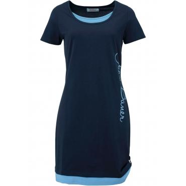 Kurzarm-Shirtkleid mit Druck in blau für Damen von bonprix