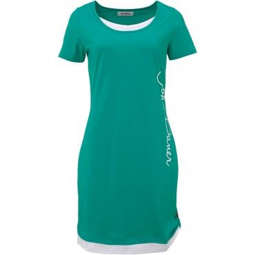 Kurzarm-Shirtkleid mit Druck in grün für Damen von bonprix