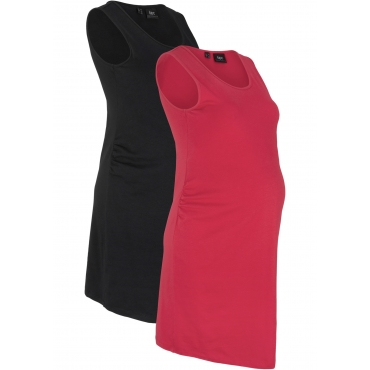 Jersey-Umstandskleid (2er-Pack) ohne Ärmel  in schwarz für Damen von bonprix