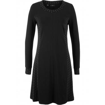 Langärmeliges Shirt-Kleid langarm  in schwarz von bonprix