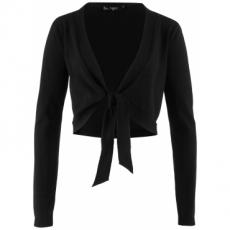 Langärmliger Bolero mit Schleife in schwarz für Damen von bonprix