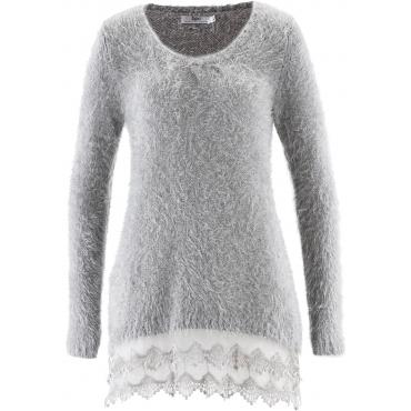 Langarm-Long-Pullover mit Spitze in grau für Damen von bonprix