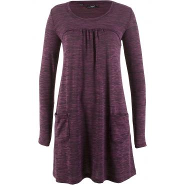 Langarm-Shirt-Kleid in Melange-Optik in lila von bonprix