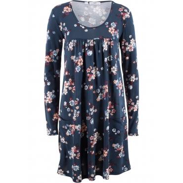 Langarm-Shirt-Kleid mit Unterbrustnaht in blau von bonprix