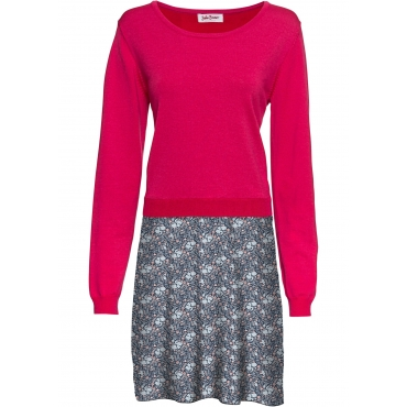 Langarm-Strickkleid in 2-in-1-Optik in pink von bonprix