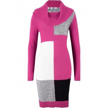 Langarm-Strickkleid in pink für Damen von bonprix